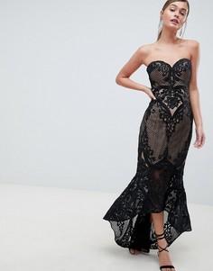 Кружевное платье макси с вырезом сердечком Bariano-Черный