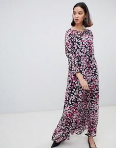 Платье макси с цветочным принтом Selected Femme-Мульти