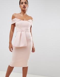 Облегающее платье миди с баской ASOS DESIGN-Розовый