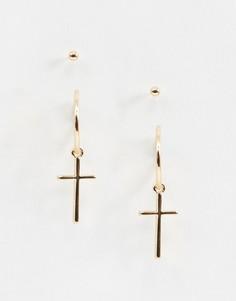 Серьги-гвоздики с подвесками ASOS DESIGN-Золотой