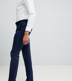 Темно-синие облегающие брюки в клетку Farah Hurstleigh эксклюзивно для ASOS-Синий