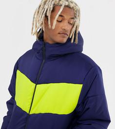 Темно-синяя дутая куртка в стиле колор блок COLLUSION-Темно-синий