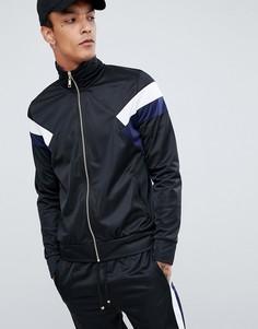 Черная спортивная куртка с синими полосками по бокам Criminal Damage-Черный