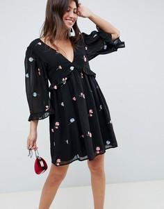 Свободное платье мини с вышивкой ASOS DESIGN-Черный