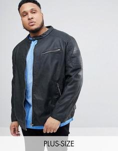 Байкерская куртка из искусственной кожи Replika Plus-Черный