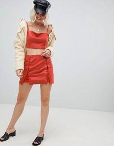 Мини-юбка со шнуровкой и змеиным рисунком Emory Park-Красный