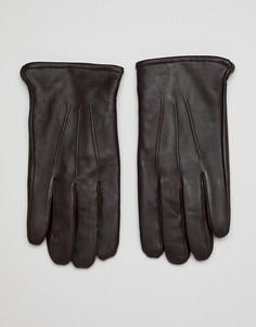 Коричневые кожаные перчатки для сенсорных гаджетов ASOS DESIGN-Коричневый