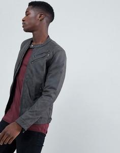 Байкерская куртка из искусственной кожи с двойной молнией Esprit-Серый
