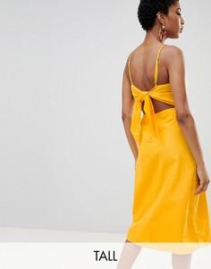 Желтое платье миди с вырезами на спине Vero Moda Tall-Желтый