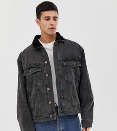 Черная джинсовая куртка с подкладкой из искусственного меха COLLUSION-Черный