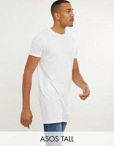 Белая длинная футболка с круглым вырезом ASOS DESIGN Tall-Белый