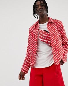 Комбинируемая красная спортивная куртка с принтом ASOS DESIGN-Красный