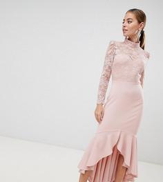 Платье макси с кружевным топом, длинными рукавами и оборкой City Goddess Petite-Розовый