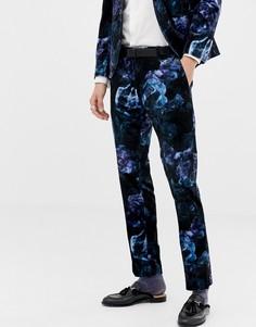 Бархатные брюки скинни с цветочным принтом Twisted Tailor-Темно-синий