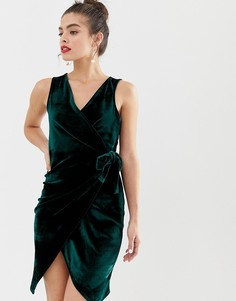 Бархатное платье с завязкой сбоку Parisian-Зеленый