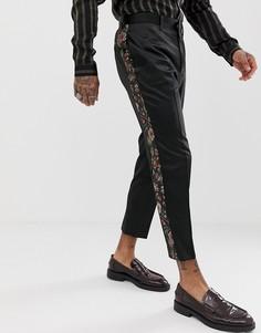 Суженные книзу брюки с цветочной жаккардовой отделкой ASOS EDITION-Черный