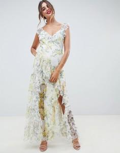 Платье макси из сетки добби с цветочным принтом и оборками ASOS DESIGN-Мульти
