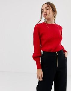 Трикотажный джемпер с пышными рукавами Selected Femme-Красный