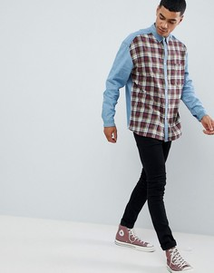 Джинсовая oversize-рубашка с узором в клетку ASOS DESIGN-Синий