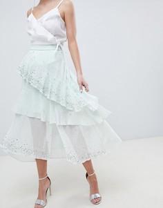 Асимметричная юбка миди с оборками и отделкой ASOS DESIGN-Зеленый