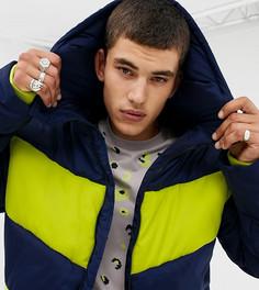 Темно-синяя дутая куртка в стиле колор блок COLLUSION Tall-Темно-синий