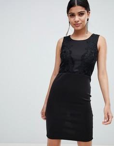 Платье-футляр с кружевом AX Paris-Черный