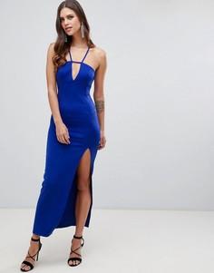 Платье макси с кружевом на спине ASOS DESIGN-Синий