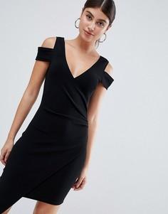 Платье миди с открытыми плечами AX Paris-Черный