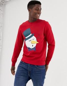 Красный свитшот с круглым вырезом и принтом снеговика Jack & Jones Originals