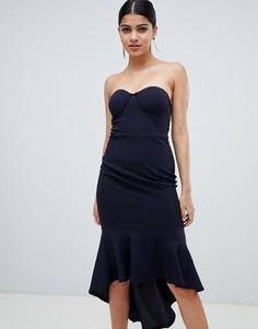 Структурированное платье миди без рукавов AX Paris-Темно-синий
