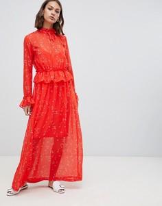 Платье макси с принтом и оборкой на талии Minimum-Мульти