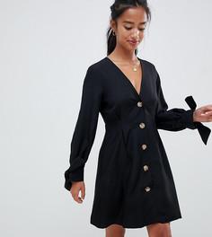 Короткое приталенное платье на пуговицах с завязками на рукавах ASOS DESIGN Petite-Черный