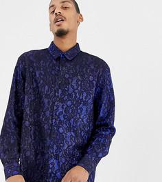 Рубашка классического кроя с блестками и кружевом Milk It Vintage-Темно-синий