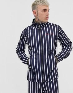 Синяя куртка в полоску с высоким воротником Liquor N Poker-Синий