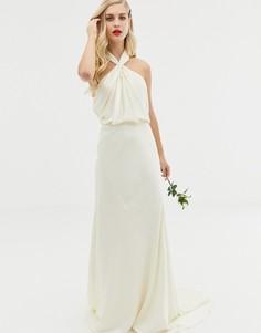 Свадебное платье макси с халтером и сборками ASOS EDITION-Кремовый