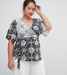Контрастная блузка с запахом и принтом Lovedrobe-Мульти