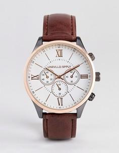 Часы из разноцветного металла с коричневым кожаным ремешком ASOS DESIGN-Коричневый