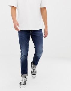 Узкие джинсы с суженными книзу штанинами Nudie Jeans Co - Lean Dean (dark deep worn)-Синий
