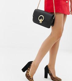 Туфли-лодочки для широкой стопы на блочном каблуке черного цвета/с леопардовым принтом ASOS DESIGN Washington-Мульти