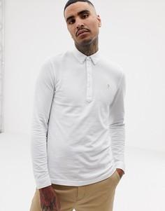 Белая узкая футболка-поло с длинными рукавами Farah Merriweather-Белый