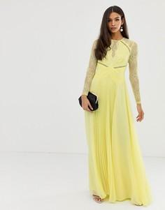 Платье макси с плиссировкой и кружевными вставками ASOS DESIGN-Синий