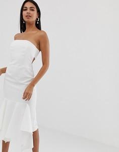 Креповое платье-бандо миди с оборкой ASOS DESIGN-Кремовый