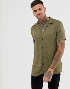 Темно-зеленая жаккардовая рубашка с отложным воротником и принтом пейсли River Island-Зеленый