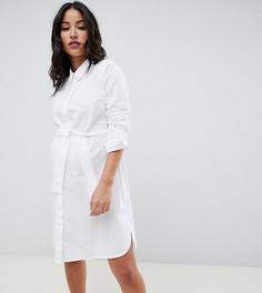 Хлопковое платье-рубашка мини с поясом ASOS DESIGN Maternity-Белый