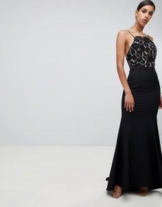 Черное платье макси с годе, кружевным топом и открытой спиной Jarlo-Черный