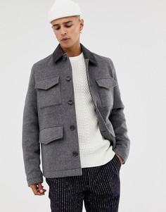 Темно-серая полушерстяная куртка с вельветовым воротником ASOS DESIGN-Серый