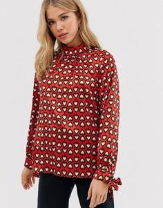Блузка с высоким воротом и завязками на рукавах Glamorous-Мульти