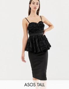 Облегающее платье миди с баской ASOS DESIGN Tall-Черный