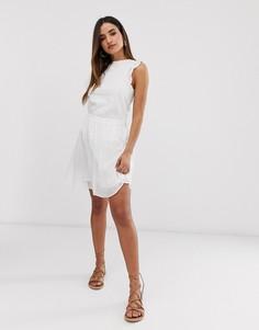 Короткая расклешенная юбка в клетку Vero Moda-Белый