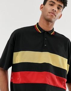 Черная футболка-поло oversize с сетчатыми вставками ASOS DESIGN-Черный